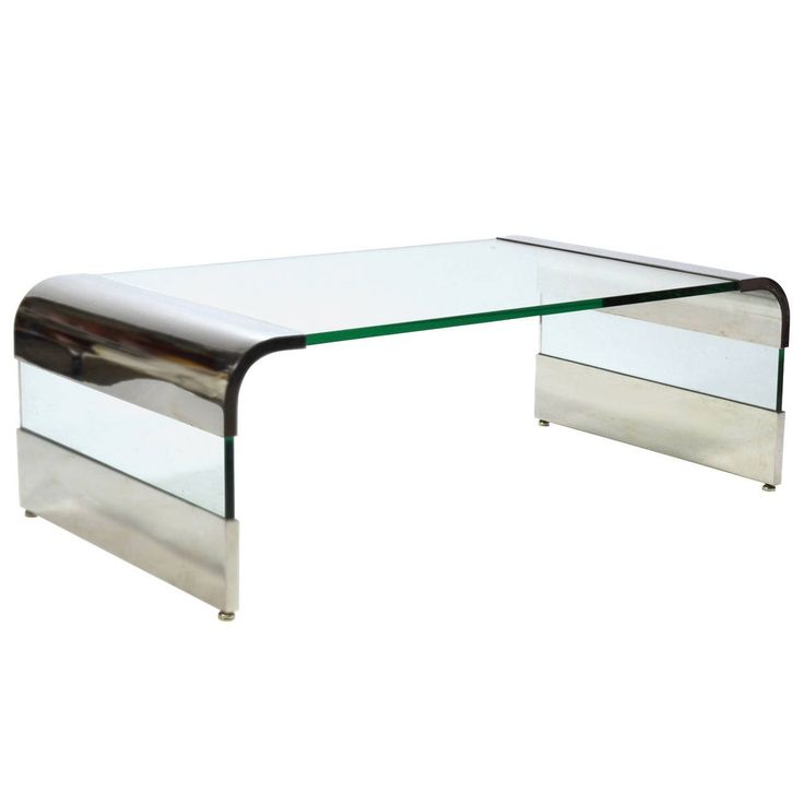 Leon Rosen Chrome And Glass Waterfall Coffee Table By Pace Part 70
