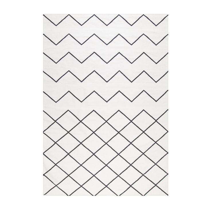 Geometrie coton 01 Tapis 170x240cm, Blanc/Noir, Decotique