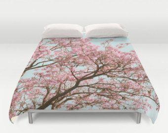 Check out Cherry Blossom Duvet, Pink Tree Duvet, Mint Blue Duvet, Romantic Bedding, Nature Duvet, Tree Duvet Cover, Cottage Chic Duvet, Shabby Chic on mayaredphotography