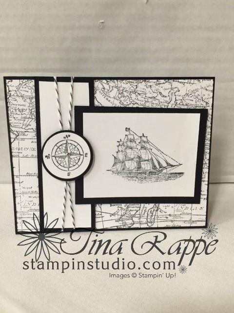 Stampin' Studio, Stampin' Up!  The Open Sea, World Map, Masculine Card