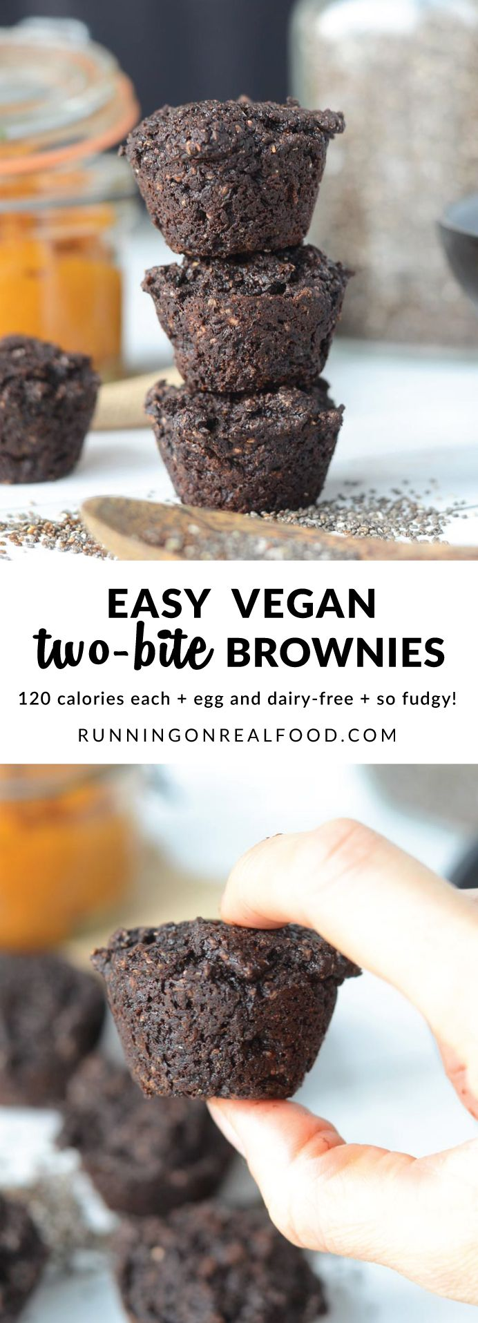 These 120 calorie vegan two bite brownies are made with pumpkin and chia seeds. They're rich and fudgy, decadent and chocolate-packed. Easy to prep in just a few minutes. Amazing straight from the fridge! So fudgy and decadent! http://runningonrealfood.com/vegan-two-bite-brownies/