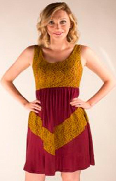 Garnet and Gold Chevron Lace Dress