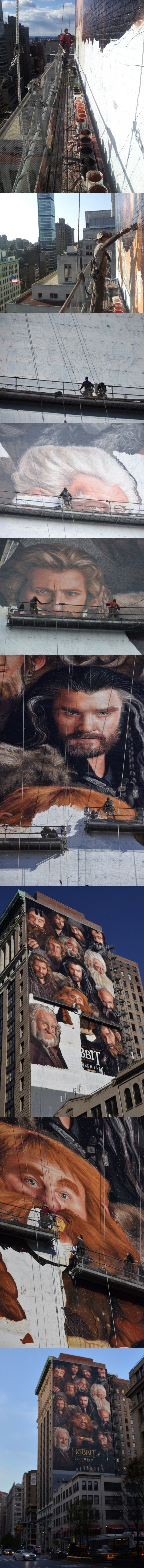 This is how you paint 150 foot tall HOBBIT dwarves by Irene Gallo.   WOW