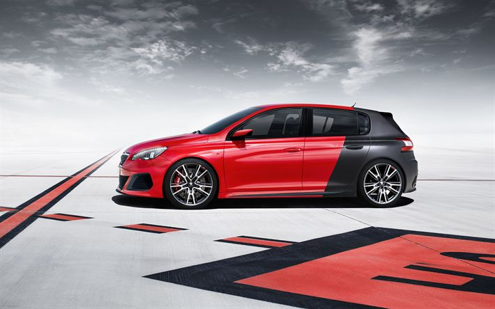 Download wallpapers Peugeot 308R, 2017, tuning, red black hatchback, new cars, Peugeot
