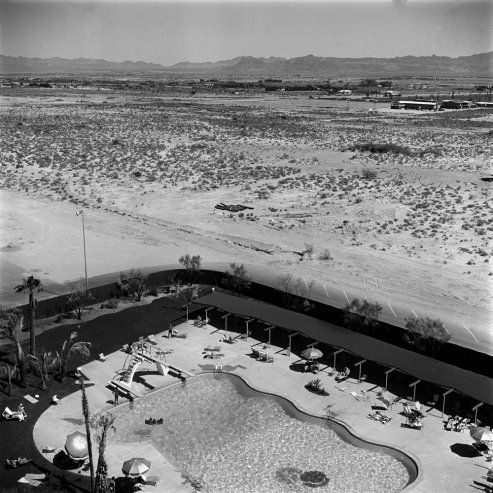 Las Vegas, 1955. A little-used pool at one of the city's newest hotels