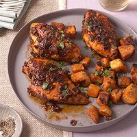 Chipotle-glazed roast chicken with sweet potatoes. Easy, and healthy!