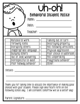 This download contains a wide variety of behavioral notifications and serves as a great communicate tool when students make a poor choice. There are several different styles to choose from including both full or 1/2 sheets and different clip art styles. Included is a reflections sheet that allows students to communicate what happened, why it happened, and what they will do differently next time.