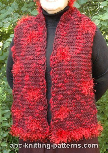 ABC Knitting Patterns - Garter Stitch Scarf with Fun Fur Polka Dots