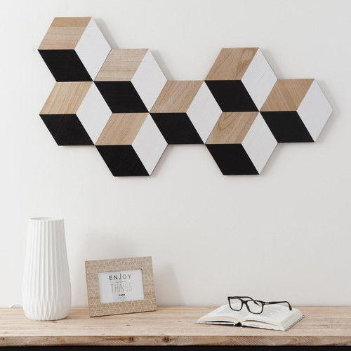 Top bois d co murale en bois hexagones maisons du for Deco murale annee 80