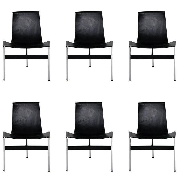 6 Leather Sling Chairs By Katavolos Littel And Kelly Modern Dining Room