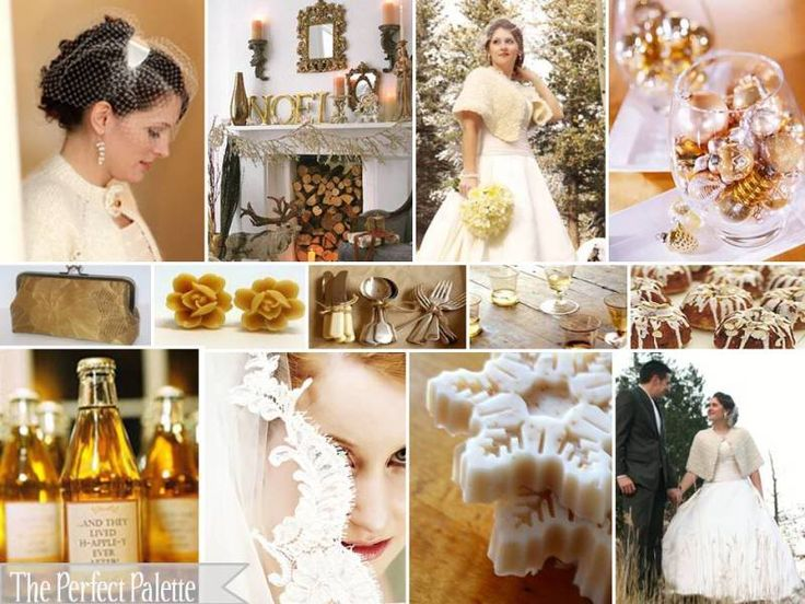 Soft gold, ivory, and white - perfect winter wedding