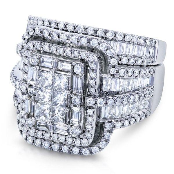 Annello by Kobelli 14k White Gold 2 1/2ct TDW Diamond Composite Rectangular Frame Bridal Rings Set (G-H, I1-I2)