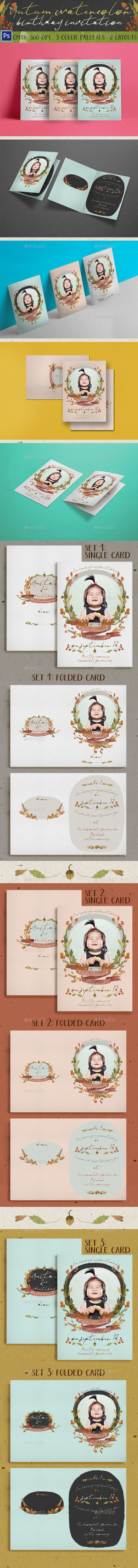 first birthday invitation wordings india%0A Autumn Watercolor Birthday Invitation