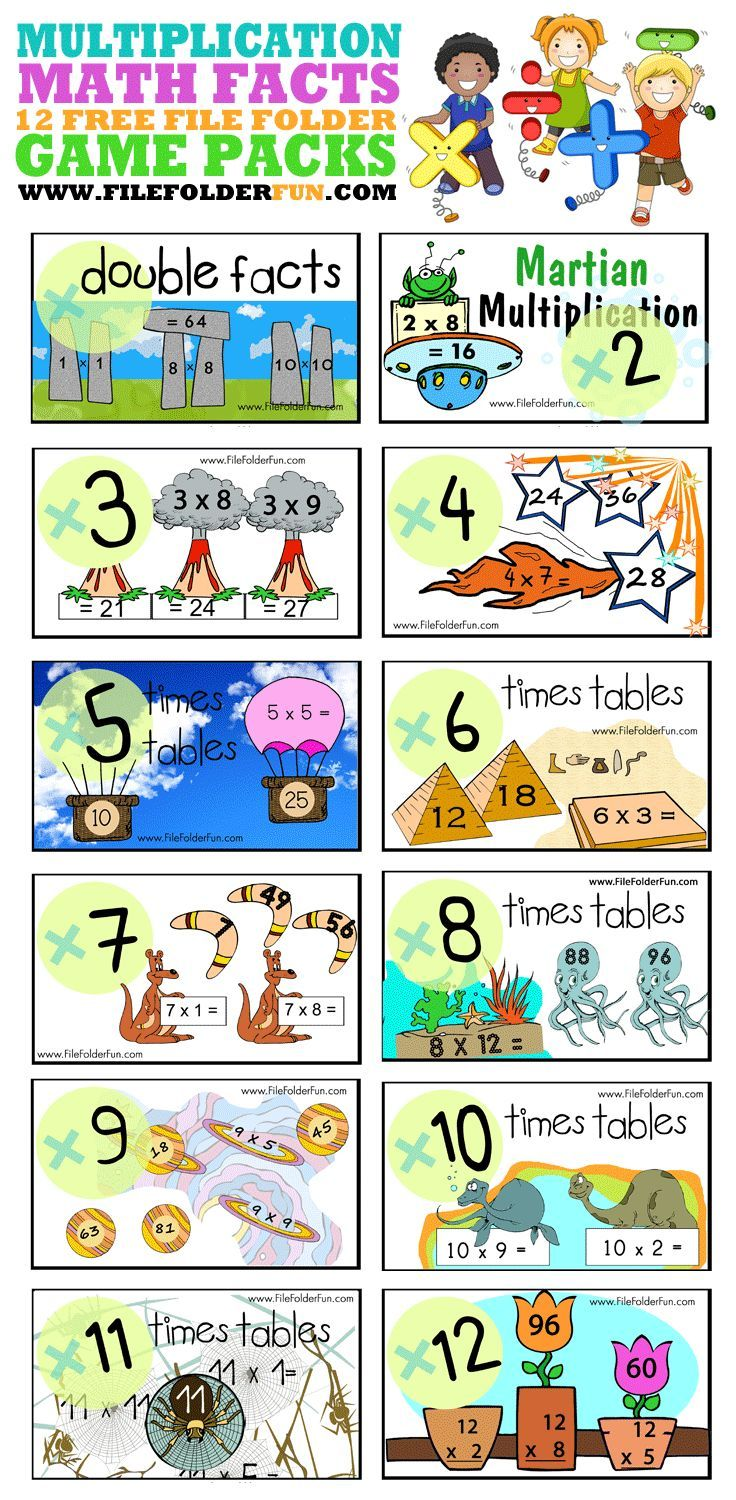 The 25 best multiplication activities ideas on pinterest 12 free multiplication file folder games gamestrikefo Gallery