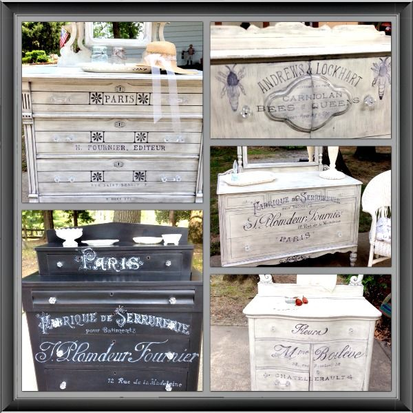 Geniece used various french typography graphics and transferred them onto her stunning painted furniture pieces. Her DIY painted pieces turned out gorgeous.
