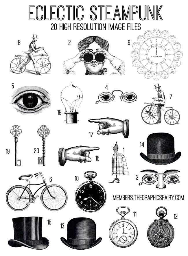Eclectic Steampunk SVG Kit! TGF Premium - The Graphics Fairy