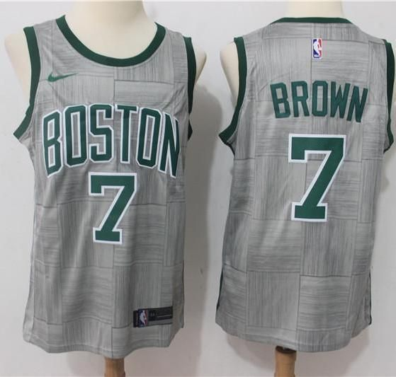 new style 3f6f6 a23d2 Men 7 Jaylen Brown Jersey Gray City Edition Boston Celtics ...