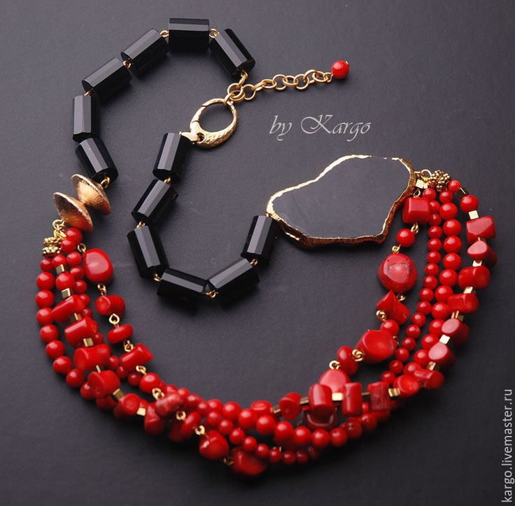 Купить Колье Магия - ярко-красный, коралл, агат, красный, черный, черное и красное, подарок