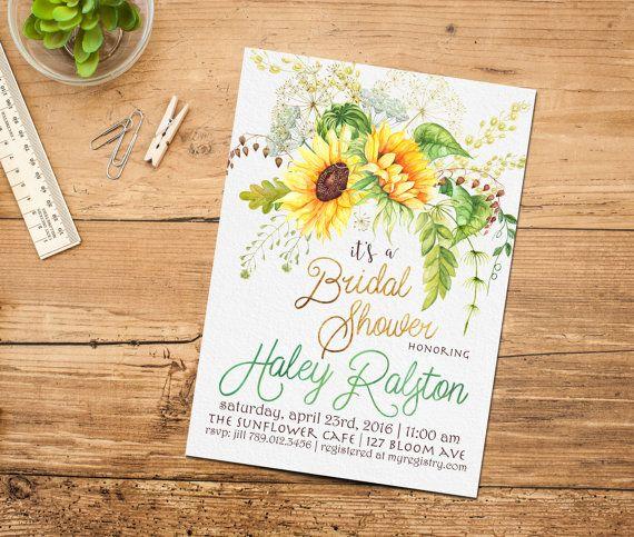 Sunflower Bridal Shower Printable Invitation, Boho Chic Invite, Spring Bohemian Baby Shower Invitations, Birthday, Floral Yellow, Green  Invite