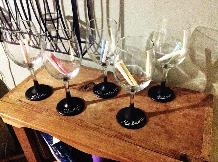 Chalkboard paint on the bottom of wine glasses
