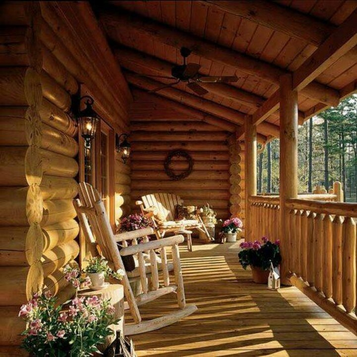 Love this porch log cabin lodge pinterest for Log cabin porches and decks