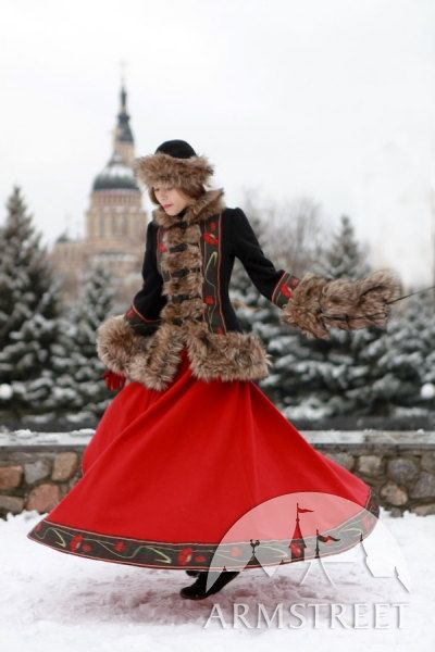 Beautfiul! Love love love the clothing and what a setting!  Russian style woolen long skirt by armstreet