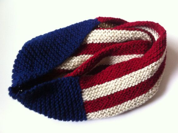 Crochet American Flag Scarf Pattern : American Flag Infinity Knit Scarf by LittleVisionsArt on ...