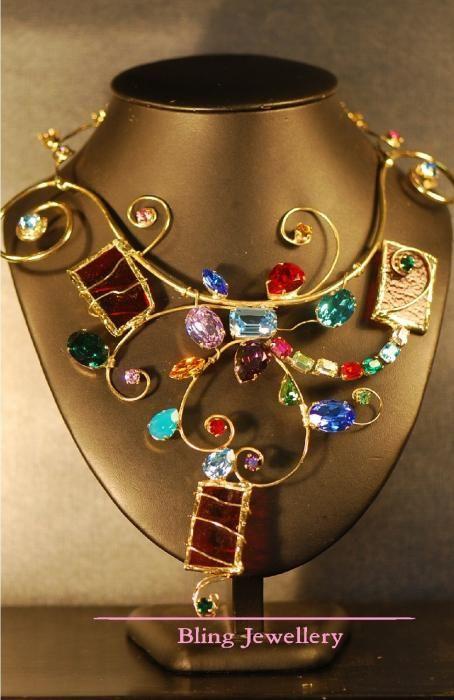 Multi Coloured Wire Sculpture Art Glass Necklace Jewelry - Janine Antulov Fine Art America