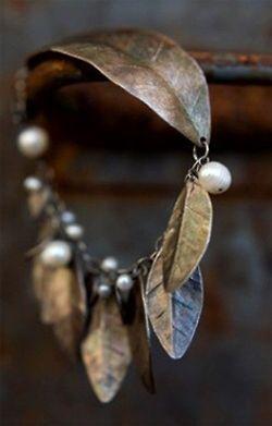 leaf and pearl bracelet
