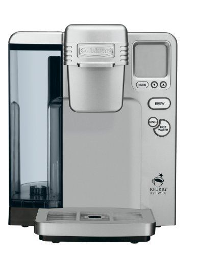 Cuisinart SS-700 Single Serve Brewing System, Silver - Powered by Keurig by Cuisinart. $166.23. 5 cup sizes, including iced beverage setting and removable drip tray for tall travel mugs. Includes: My K-Cup Reusable Coffee Filter, charcoal water filter, 12 K-Cup Portion Pack and instruction book. Ships in Certified Frustration-Free Packaging. Large 80-ounce removable water reservoir eliminates the need for frequent refills. Fully programmable blue backlit LCD wi...