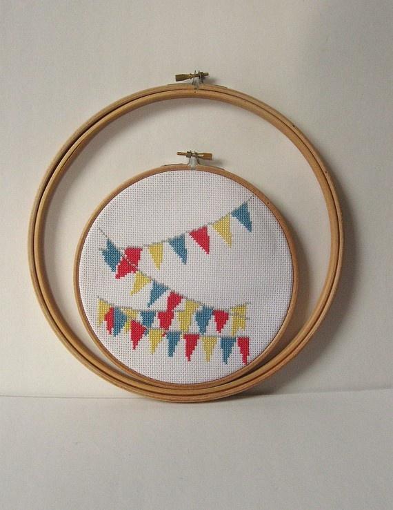 Bunting cross stitch kit
