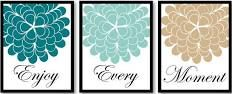 Blue Turquoise Green Teal Beige Tan Enjoy Every Moment Setof3 Art Printable DOWNLOAD Flower Print Wall Decor Modern Kitchen Bathroom Bedroom