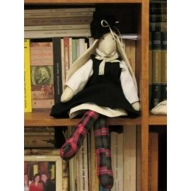 Rabbit Fabric Doll in Black Dress