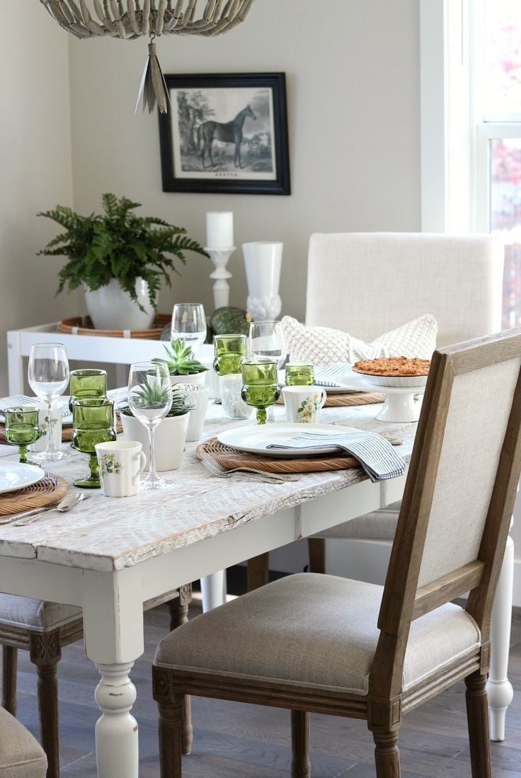 Eclectic Fall Tablescape In Green Gold White White Farmhouse Table Farmhouse Table Chairs Fall Home Decor