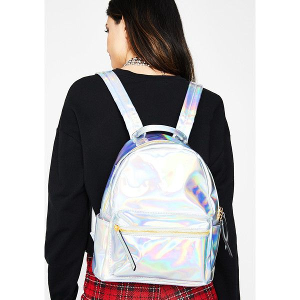 Holographic Silver Backpack ($38) ❤ liked on Polyvore featuring bags, backpacks, hologram, silver backpack, pocket backpack, day pack backpack, silver hologram backpack and silver bag