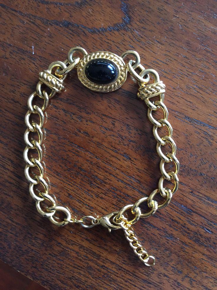 Gold and black bracelet
