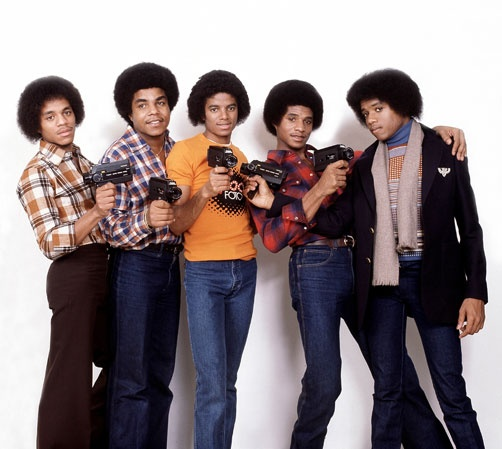Camera Time with the Jacksons! (L-R Marlon Jackson, Tito Jackson, Michael Jackson, Jackie Jackson, and Randy Jackson. )