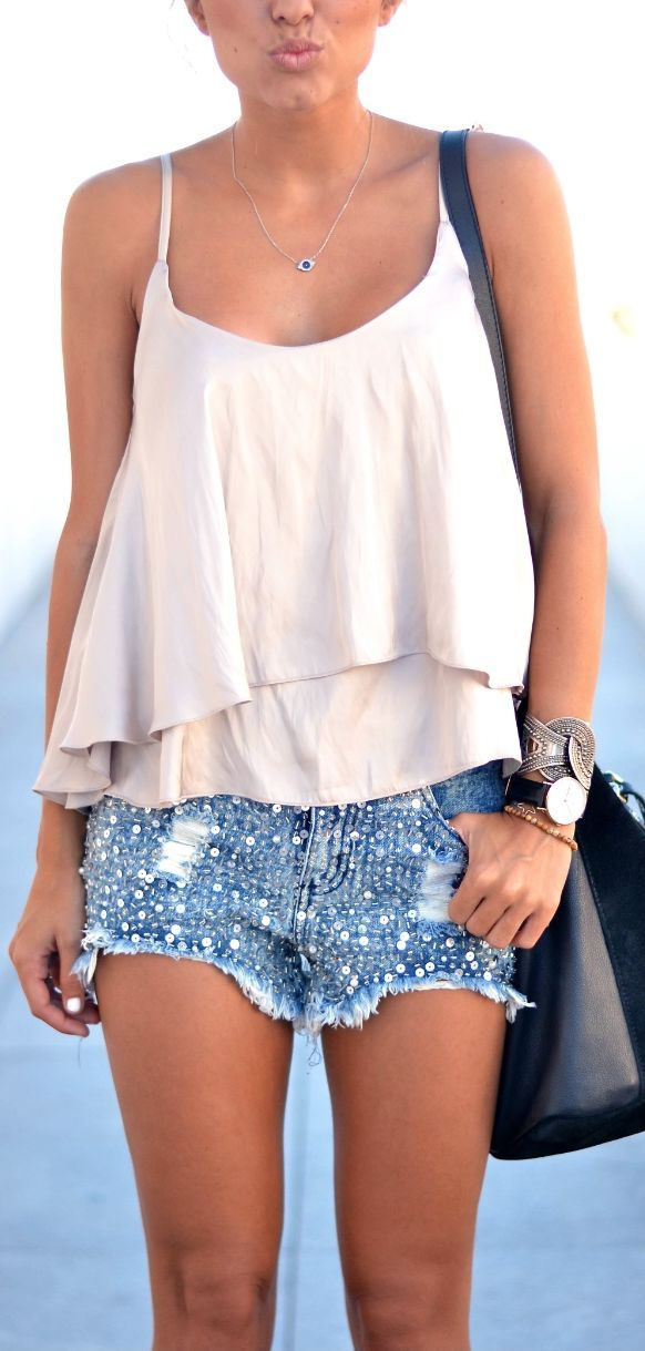 Blue Embellished Denim Cutoffs