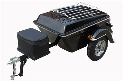 The Legacy Pull Behind Motorcycle Trailer is made of hand-laid fiberglass, an independent torsion axle, stainless steel and chrome that makes it a cargo motorcycle trailer of great design, style, grace, and affordability.