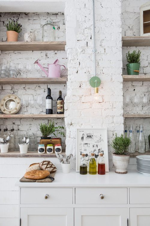 White brick & wood shelves