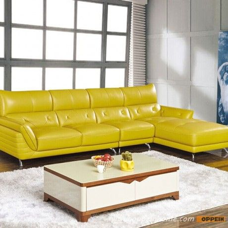 WS-LJ160013: Modern High Quality Gorgeous Sectional Yellow Leather Sofa