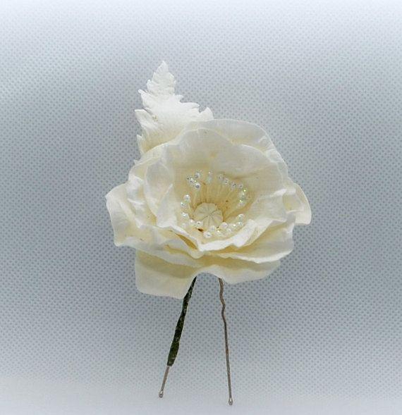 Hairpin hair  poppy Jewel flower Girl headpiece spring flower Bride headband bouquet Buttonhole groom white flower Corsage wrist bridesmaid