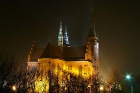 Once again, night view of church in Lodz, february mist  #night #architecture  http://fotonoco.blogspot.com/2014/02/i-znow-nocny-widok-na-koscio-sw.html