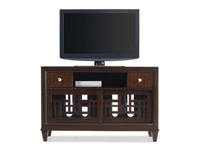 Two drawers; one open component compartment; two sliding fretwork and glass doors with one adjustable wood shelf behind each; wire management | Hardwood Solids and Walnut Veneers | Pinellas Park (727) 577-1776 / Sarasota (941) 556-0501 | Home Entertainment Furniture