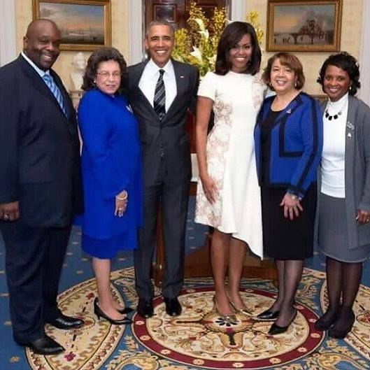 What a beautiful sight! Pictured with President Obama and First Lady are our International President of Zeta Phi Beta International President of Phi Beta Sigma President of Sigma Gamma Rho and President of the NPHC who is also a Zeta  #ZetaPhiBeta #POTUS by by_zetaphibeta #WhiteHouse #USA