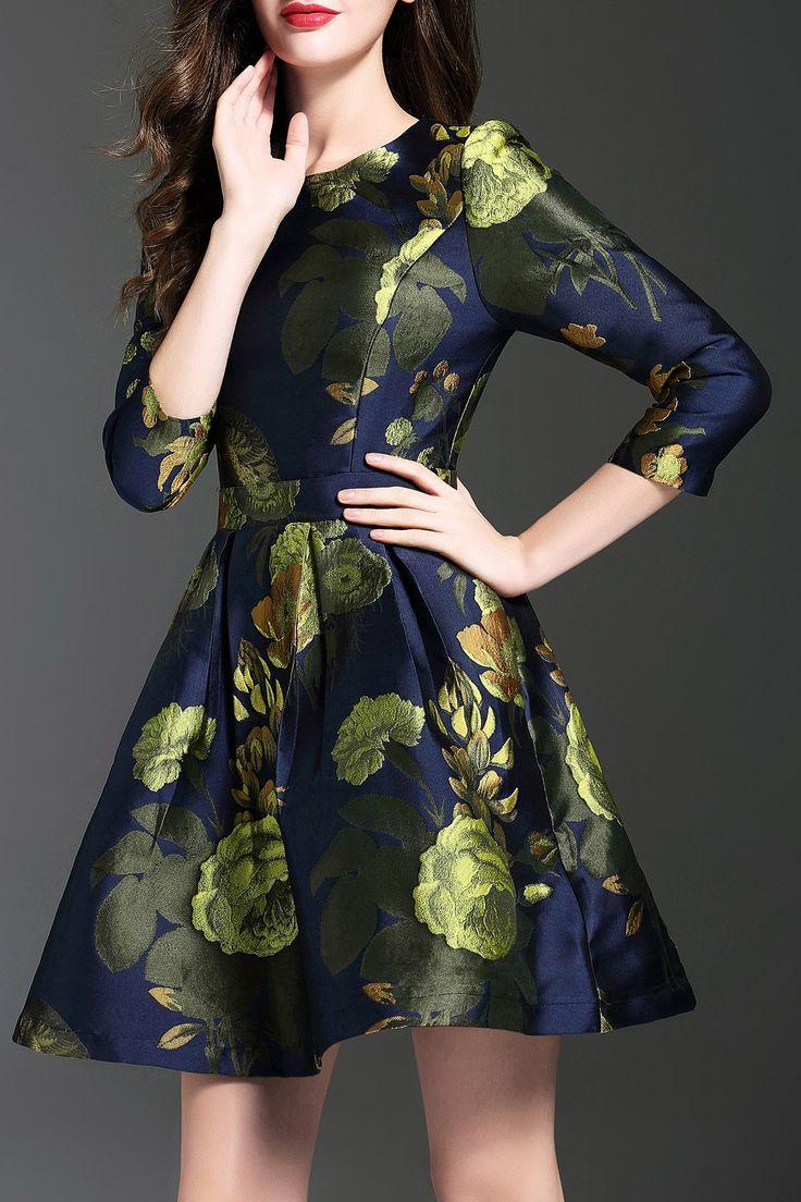 Pleated Floral Jacquard Dress