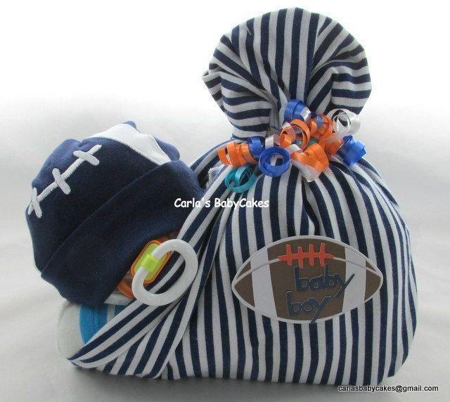 Stork bundle baby | Boy diaper cake | Stork bundle | Sports football diaper cake | Baby shower gift | Unique baby gift | Baby sprinkle gift by MsCarlasBabyCakes on Etsy
