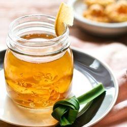 "Traditional Indonesian warm drink ""Ginger, pandanus and coconut sugar drink"" (wedang jahe)"