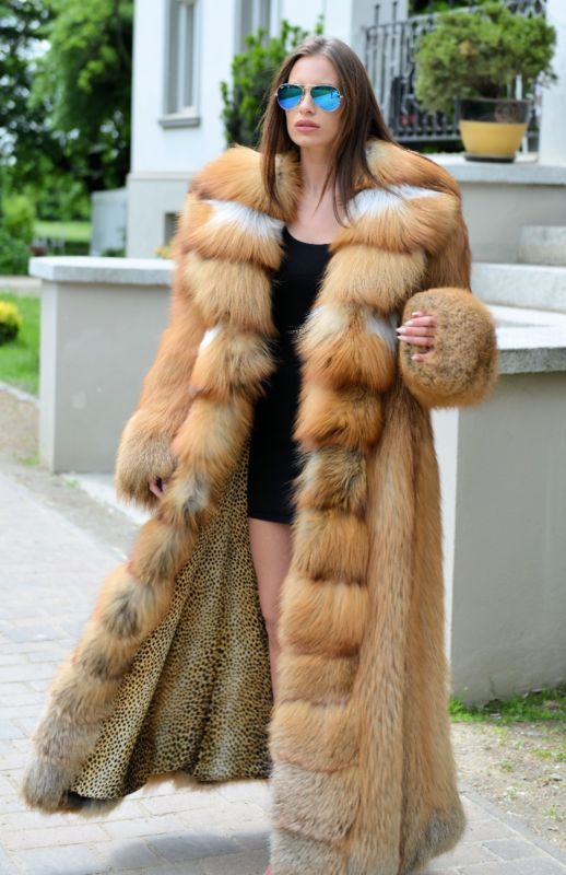NEW 2017 GOLD FOX LONG FUR COAT CLAS OF SABLE MINK CHINCHILLA JACKET SILVER VEST