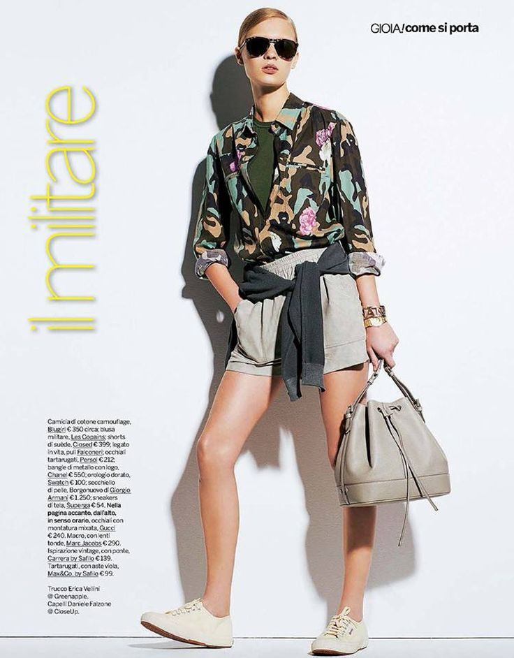 Best Editorials - Blugirl Spring Summer 2015 • Camouflage and rose printed shirt. • GIOIA, Italy - April 25, 2015